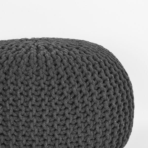 LABEL51 Poef Knitted - Antraciet - Katoen - M Antraciet Salontafel