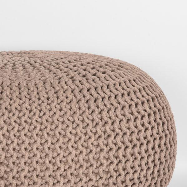 LABEL51 Poef Knitted - Beige - Katoen - L Beige Salontafel