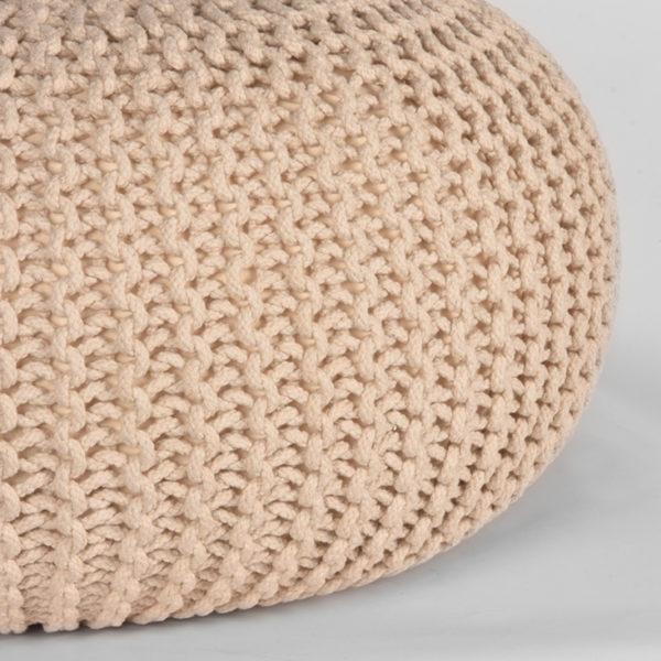 LABEL51 Poef Knitted - Naturel - Katoen - L Naturel Salontafel