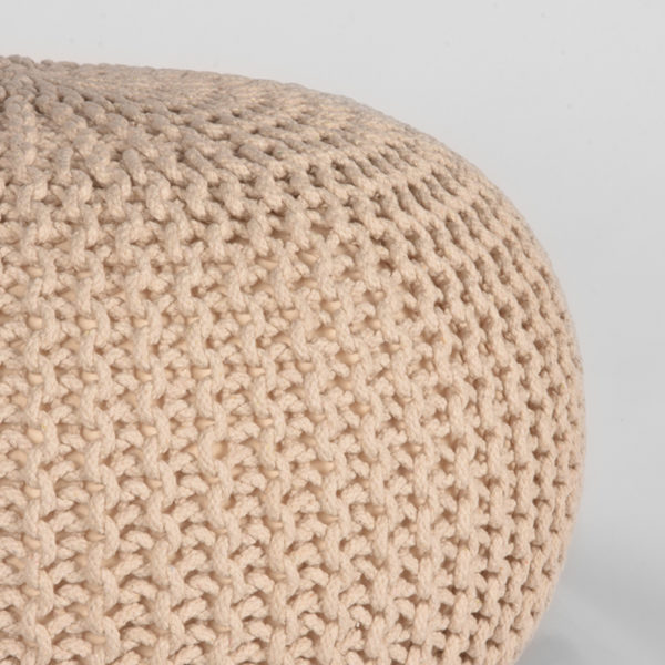 LABEL51 Poef Knitted - Naturel - Katoen - M Naturel Salontafel
