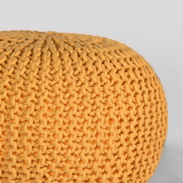LABEL51 Poef Knitted - Oker - Katoen - M Oker Salontafel