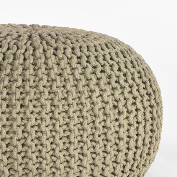 LABEL51 Poef Knitted - Olijfgroen - Katoen - M Olijfgroen Salontafel