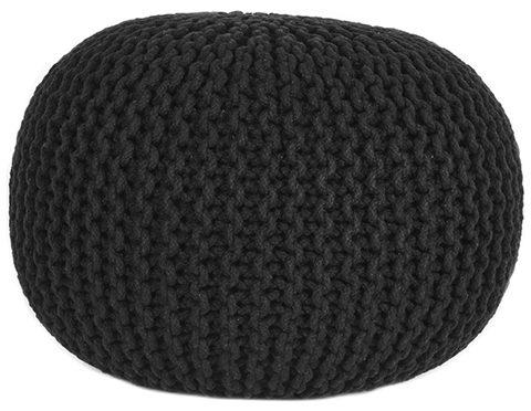 LABEL51 Poef Knitted - Zwart - Katoen - M Zwart Salontafel