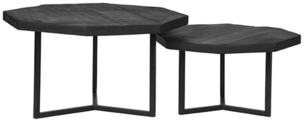 LABEL51 Salontafel Figure - Zwart - Mangohout Zwart Bijzettafel