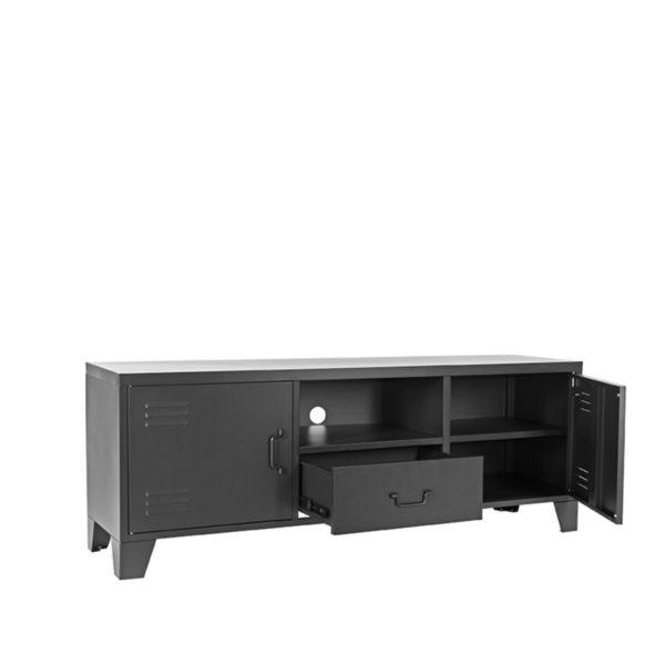 LABEL51 Tv-meubel Fence - Zwart - Metaal Zwart Vitrinekast