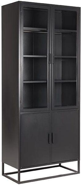 LABEL51 Vitrinekast Level - Zwart - Metaal - 80x40x190 cm Zwart Vloerkleed