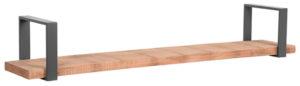LABEL51 Wanddecoratie Slam Wandplank - Burned Steel - Mangohout - XXL Burned steel Woonaccessoire|Woningdecoratie