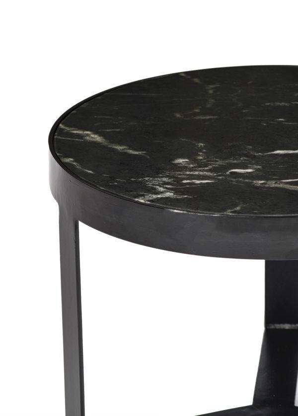 Livingfurn Bijzettafel Glennis Marble Black Black 50 cm  Bijzettafel