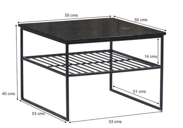Livingfurn Salontafel Dian Marble Black Black 55cm  Salontafel