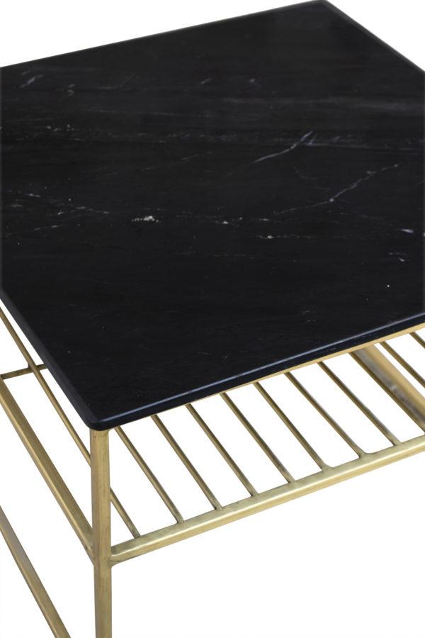 Livingfurn Salontafel Dian Marble Black Gold 55cm  Salontafel