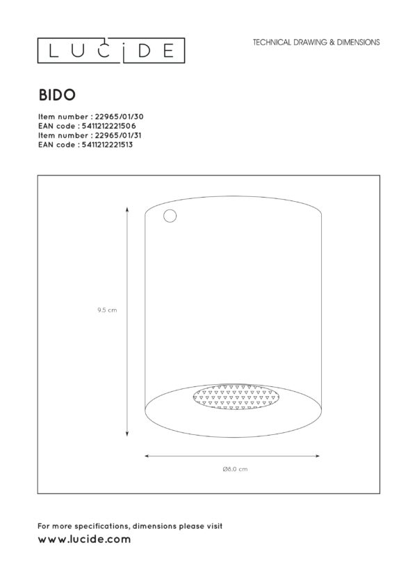 Bido plafondspot - wit Lucide Plafondspot 22965/01/31