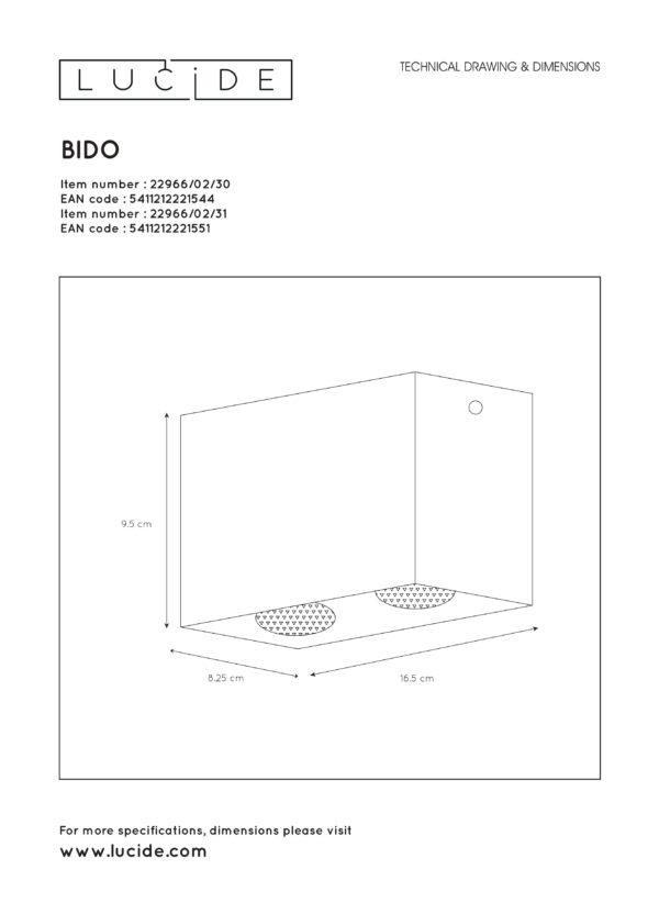 Bido plafondspot - wit Lucide Plafondspot 22966/02/31