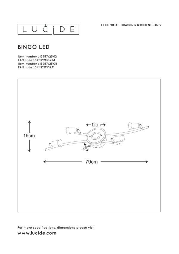 Bingo-led plafondspot - wit Lucide Plafondspot 13957/25/31