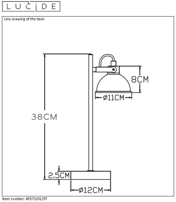 Damian bureaulamp - zwart Lucide Bureaulamp 45573/01/97