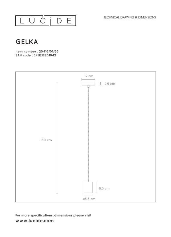 Gelka hanglamp - zwart Lucide Hanglamp 20416/01/65