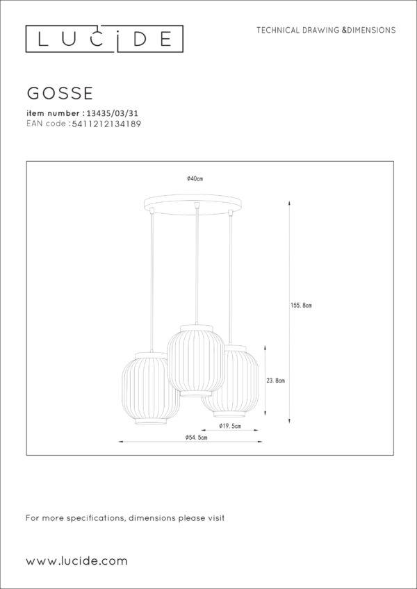 Gosse hanglamp - mat goud / messing Lucide Hanglamp 13435/03/31