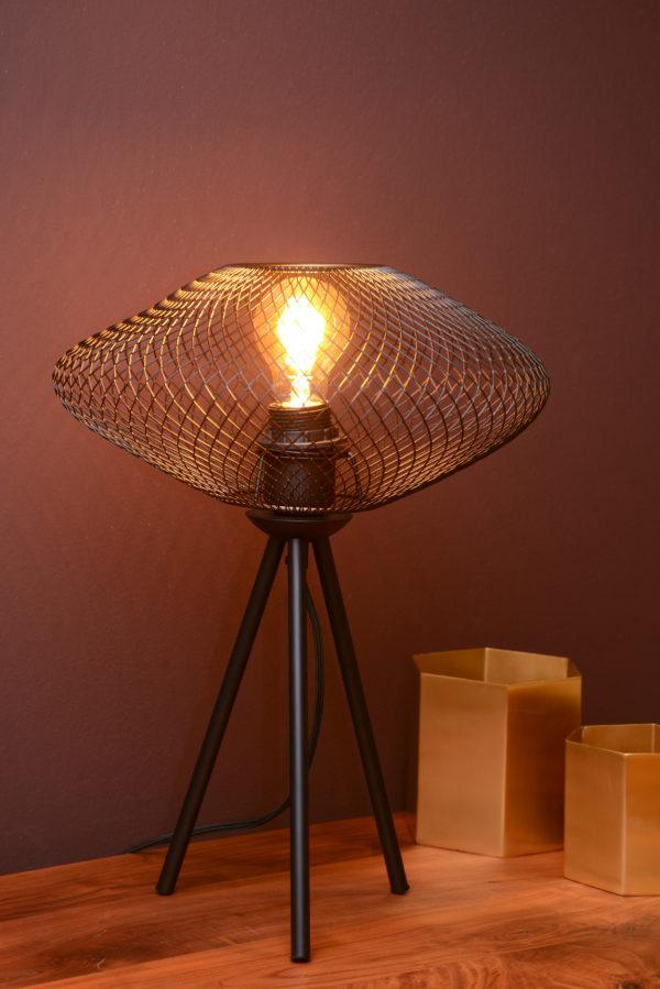 Mesh tafellamp - zwart Lucide Tafellamp 21523/01/30