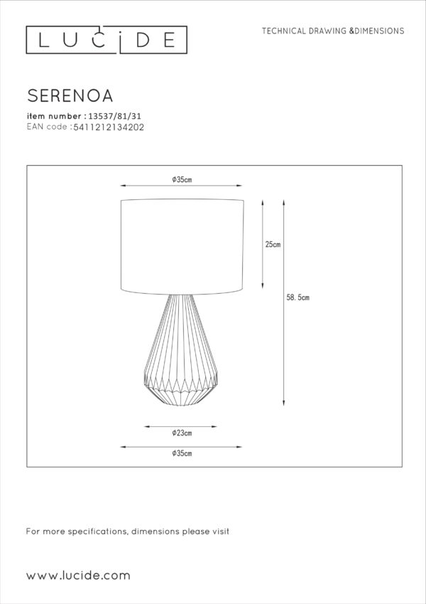 Serenoa tafellamp - groen Lucide Tafellamp 13537/81/31
