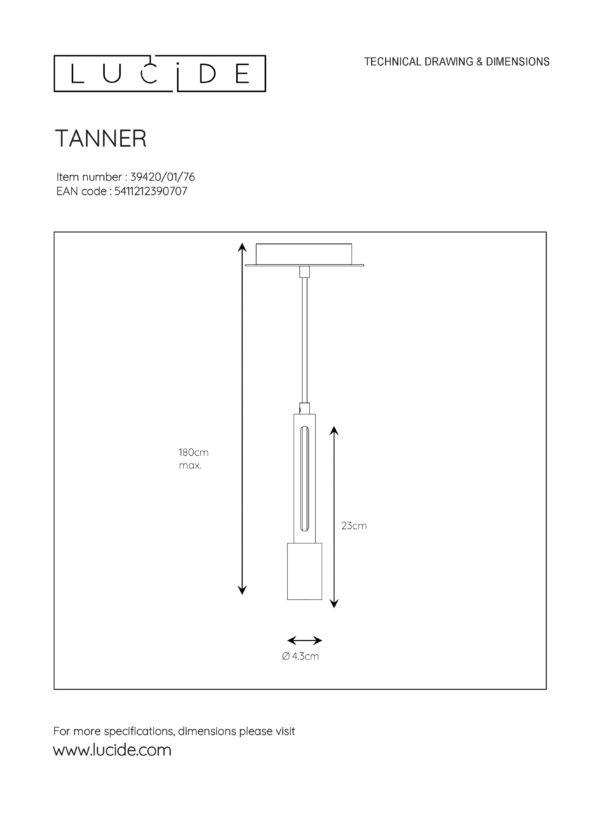 Tanner hanglamp - hout Lucide Hanglamp 39420/01/76