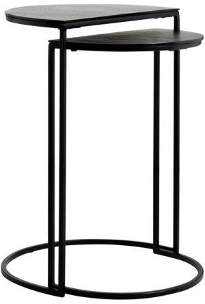 Richmond Interiors Bijzettafel Bolder set van 2 aluminium zwart (Zwart) Zwart Bijzettafel