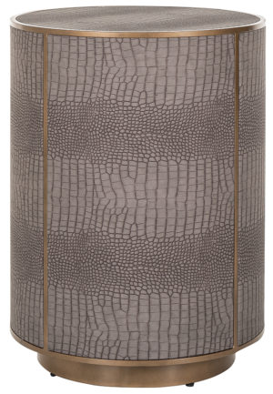 Richmond Interiors Bijzettafel Classio 45,5Ø Vegan Leather (Brushed Gold) Brushed Gold Bijzettafel