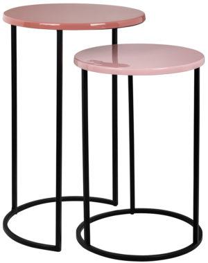 Richmond Interiors Bijzettafel Yoke roze set van 2 (Roze) Roze Bijzettafel