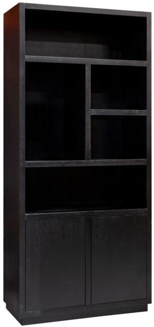 Richmond Interiors Boekenkast Oakura 2-deuren (Zwart) Zwart Boekenkast