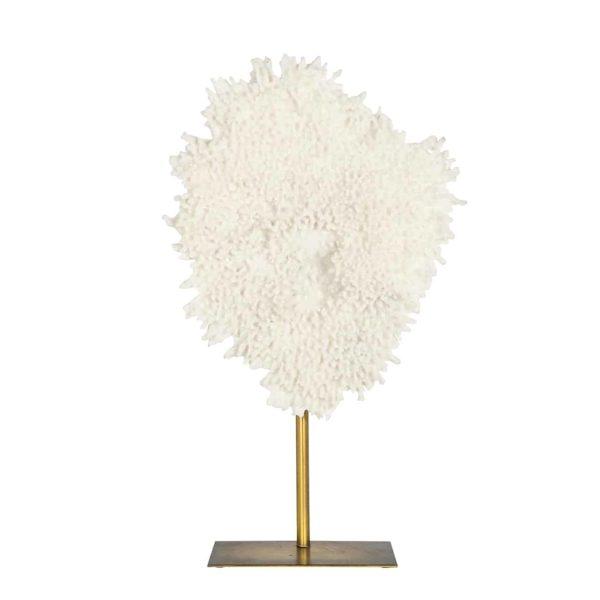 Richmond Interiors Faux koraal Jesse op standaard klein (Wit) Wit Woonaccessoire