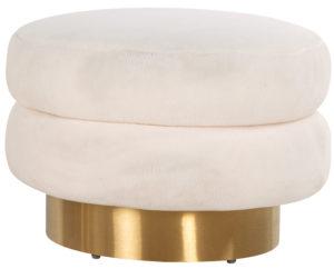 Richmond Interiors Poef Faya White Teddy / Brushed gold (White) White Woonaccessoire