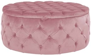 Richmond Interiors Pouffe Lulu Ø100cm Pink Velvet (Quartz Pink 700) Quartz Pink 700 Woonaccessoire