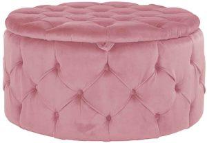 Richmond Interiors Pouffe Lulu Ø80cm Pink Velvet (Quartz Pink 700) Quartz Pink 700 Woonaccessoire