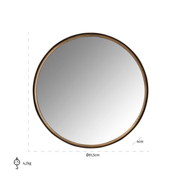 Richmond Interiors Spiegel Cedric 60Ø (Brushed Gold) Brushed Gold Woonaccessoire