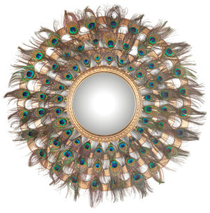 Richmond Interiors Spiegel Macynn met veren (Goud) Goud Woonaccessoire