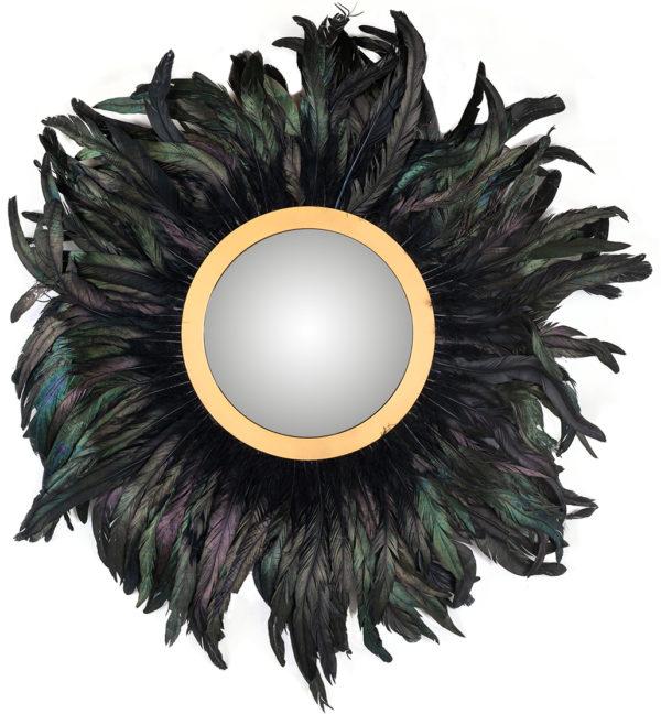 Richmond Interiors Spiegel Madlen met veren (Zwart) Zwart Woonaccessoire