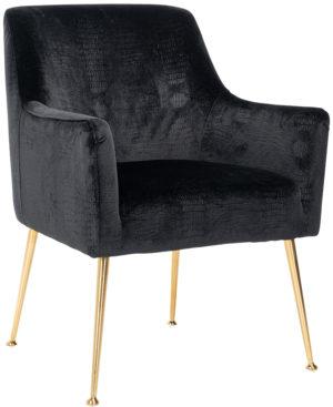 Richmond Interiors Stoel Harper Black Croco  (Croco Velvet Black HD007) Croco Velvet Black HD007 Eetkamerstoel