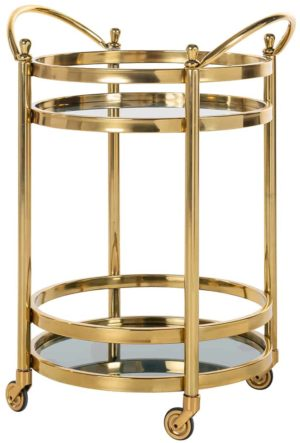 Richmond Interiors Trolley Hendricks rond goud met glas (Goud) Goud Woonaccessoire