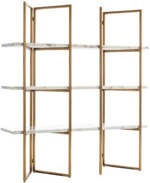 Richmond Interiors Wandkast Lagrand Gold met 3 planken  (Goud) Goud Wandkast|Kast