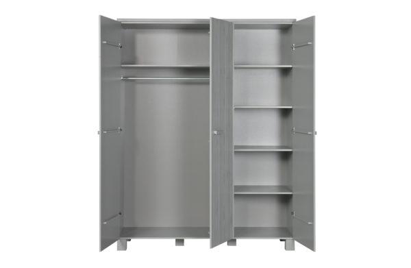 WOOOD Dennis 3-deurs Kast Grenen Betongrijs Geborsteld Concrete grey Kast