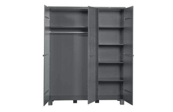 WOOOD Dennis 3-deurs Kast Grenen Steel Grey Geborsteld Steel grey Kast