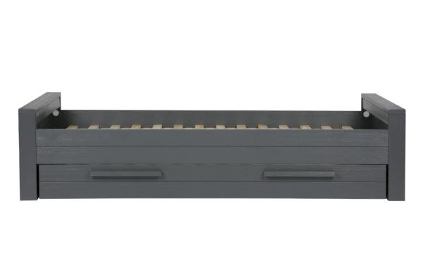 WOOOD Dennis Bed 90x200cm Grenen Steel Grey Geborsteld Steel grey Ledikant
