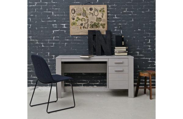 WOOOD Dennis Bureau Grenen Betongrijs Geborsteld Concrete grey Bureau