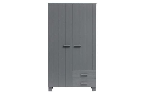WOOOD Dennis Kast Met Laden Grenen Steel Grey Geborsteld Steel grey Kast