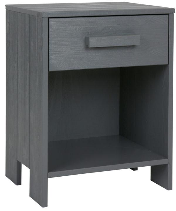 WOOOD Dennis Nachtkastje Grenen Steel Grey Geborsteld Steel grey Ledikant