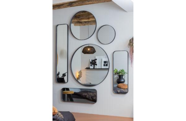 WOOOD Doutzen Spiegel Metaal Zwart 110x40cm Black Woonaccessoire