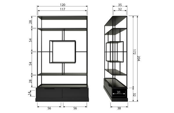 WOOOD Fons Vakkenkast Metaal/hout Mat Zwart Black Kast