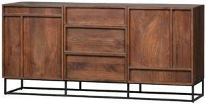 WOOOD Forrest 2-deurs Dressoir Met Lades Mango Hout Naturel Natural Kast
