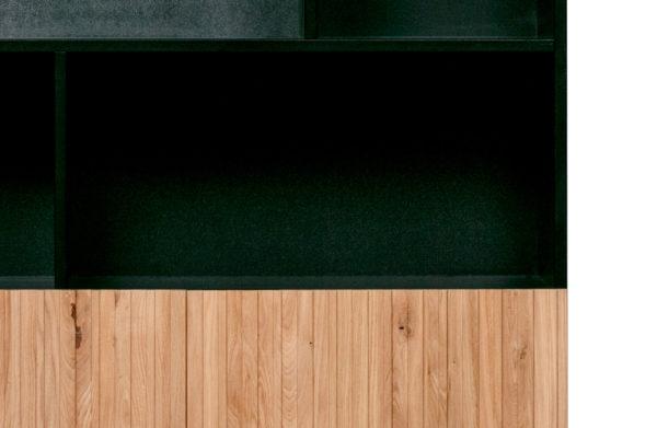 WOOOD Gravure Hoge Kast Korpus Zwart En Deuren Naturel Black/natural Kast
