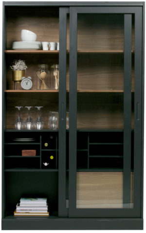 WOOOD James Vitrinekast Noten/zwart Black/walnut Kast
