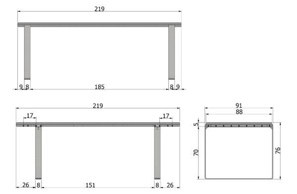 WOOOD Jamie Eettafel 220x90cm Eiken Metalen Poten Onbehandeld Eettafel