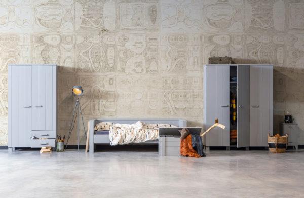 WOOOD Kluis Nachtkastje Betongrijs Geborsteld Concrete grey Ledikant